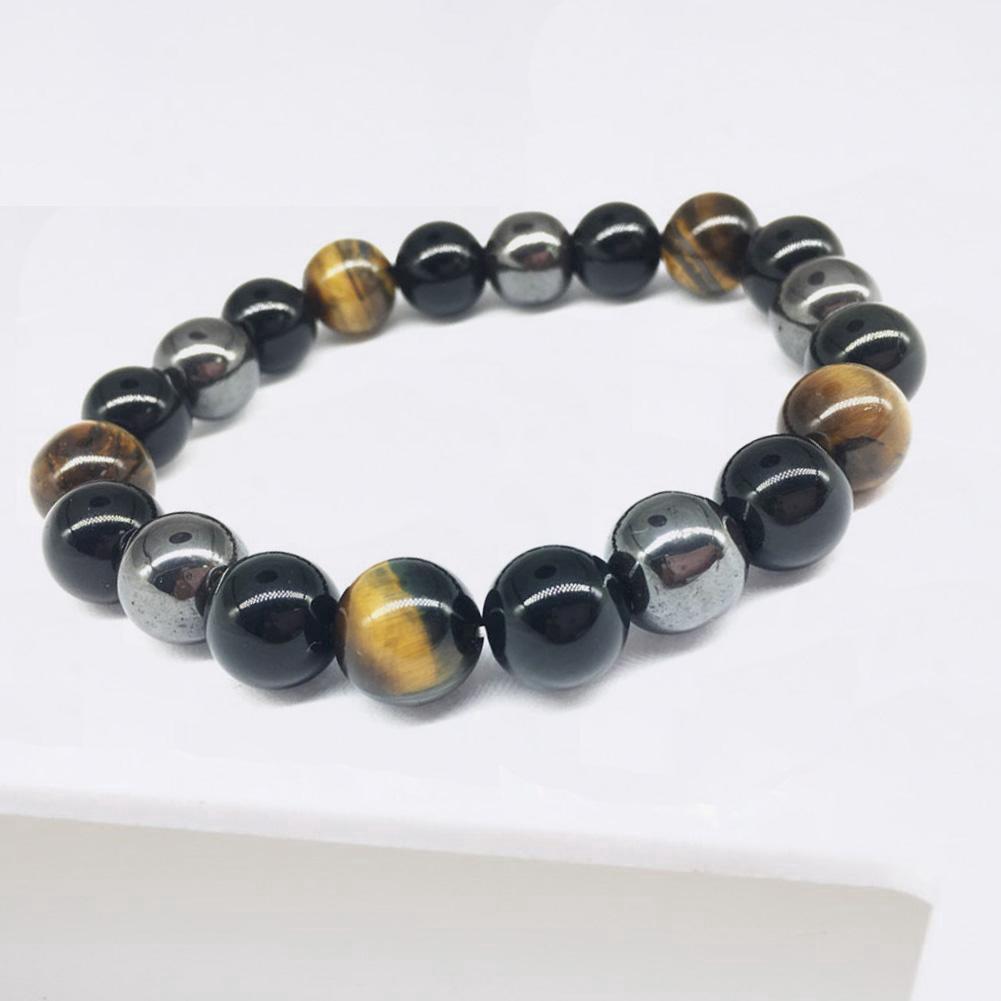 Vòng tay đá Obsidian mắt hổ đen tự nhiên M9I3