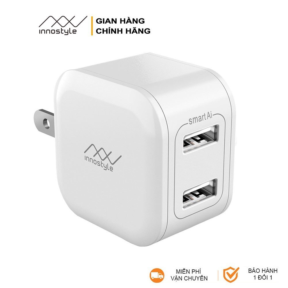 CỦ SẠC INNOSTYLE MINIGO 2 CỔNG USB A 12W - SMART AI CHARGING INNOSTYLE - HÀNG CHÍNH HÃNG