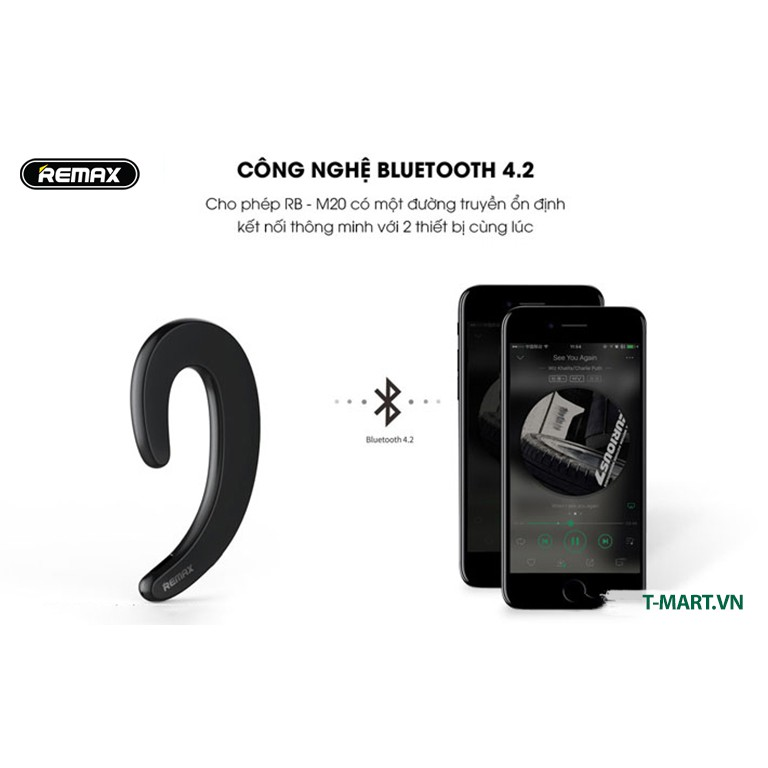 Tai nghe Bluetooth dẹt siêu mỏng Remax RB - T20