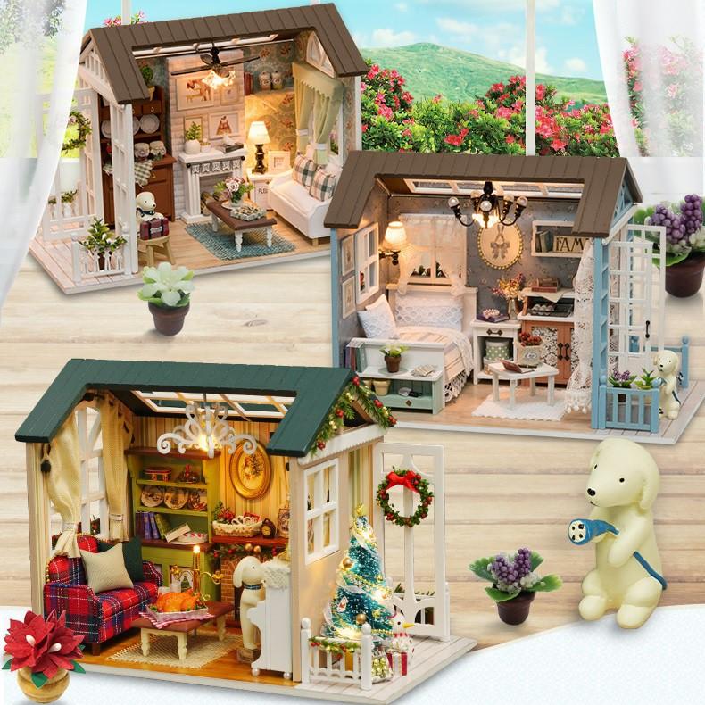 Mô hình nhà DIY Doll House American Retro Style Kèm Mica chống bụi, Bộ dụng cụ và Keo dán