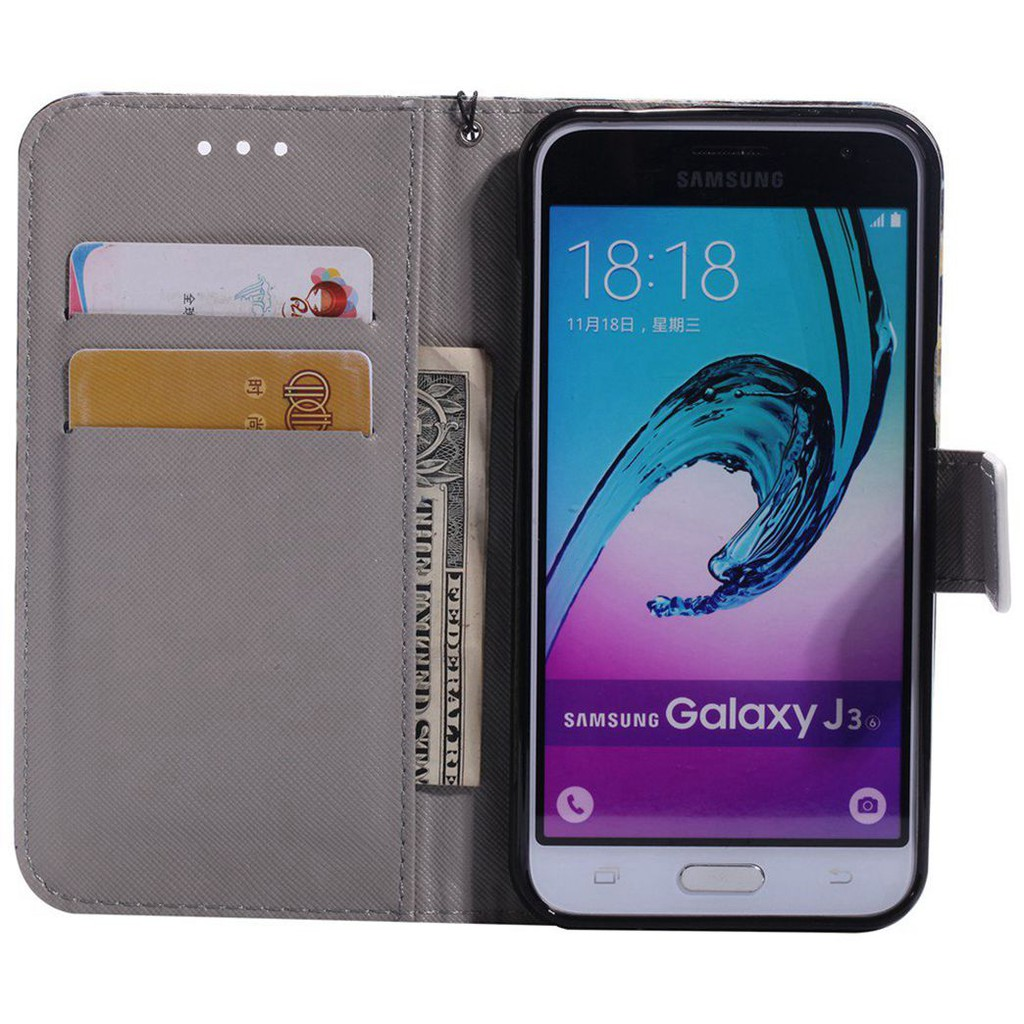 For Samsung Galaxy J3/J3 2016 J310 Butterfly-3 Leather Flip Wallet Case  Cover