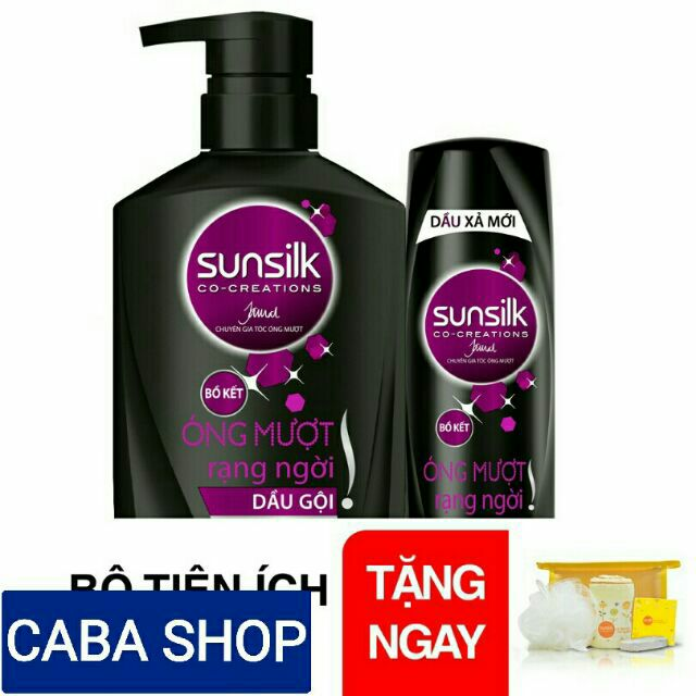 [Quà] Combo Sunsilk đen óng mượt rạng ngời (Gội 900g + xả 320g) + 1 bộ gift du lịch