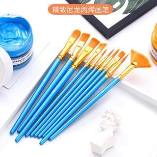 10 cánh quạt gỗ thanh màu xanh bàn chải Nylon sơn dầu bàn chải nước sơn màu nước sơn bàn chải