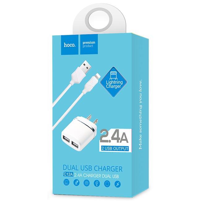 Bộ cáp và củ sạc 2 cổng Hoco C12A 2.4A Lightning (Trắng) cho iPhone/iPad - Chính Hãng - Hỗ trợ sạc n