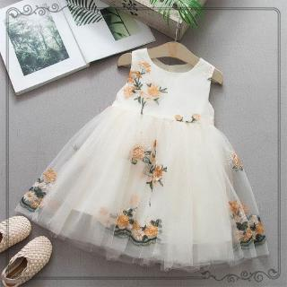 Đầm cotton sát nách thêu họa tiết xinh xắn dành cho bé gái