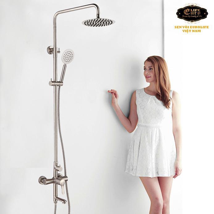 Bộ sen cây tắm đứng nóng lạnh Inox SUS 304 Eurolife EL-S917 (Trắng vàng)