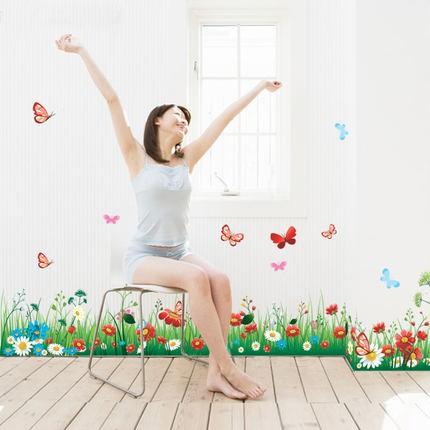 Hình ảnh Decal dán tường chân tường vườn hoa xinh-0