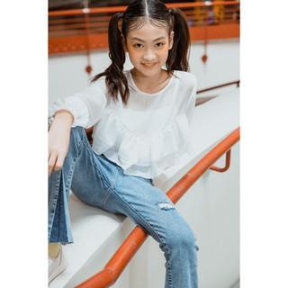 Áo Sơ Mi Bé Gái Cổ Tròn (4-15 tuổi) Jookyli