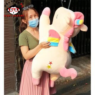 [MUA 2 TẶNG 1] Gấu bông Kỳ lân một sừng Unicorn 75cm 90cm khổng lồ vải mịn mềm gòn trắng 100%