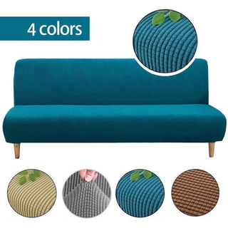 Knitted Fabric Armless Sofa Cover Furniture Decoration Dark green