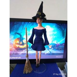 Bộ mũ và chổi phù thủy búp bê