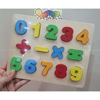 Bảng ghép gỗ nổi các số từ 0-9 và các phép tính kích thước 22x18cm