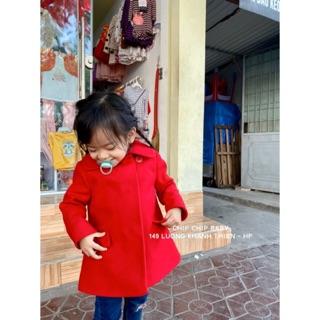Áo khoác dạ TU đỏ xuất xịn bé gái sz 1-5y