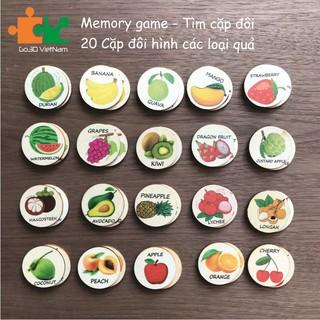 Đổ chơi Memory game, Tìm cặp đôi bằng gỗ-Các loại quả