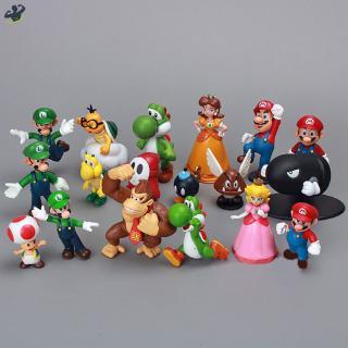 LL 18pcs/lot Mini Super Mario Figures Super Mario Bros Yoshi Daisy Princess PVC Action Figures Toys Model Toy Gift for K