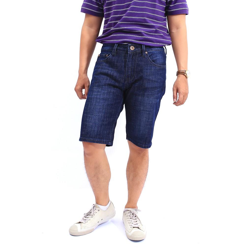 Fasamy Quần Jeans short nam Xanh Đậm Trẻ Trung FS020
