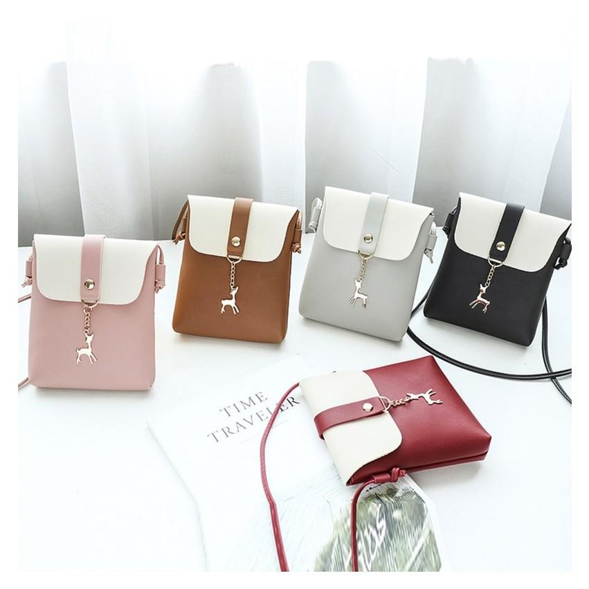TXN64 Túi đựng điện thoại mẫu mới khóa hình hươu , túi đeo chéo mini thời trang