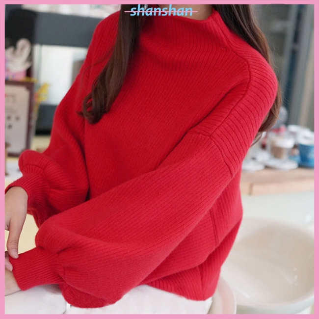 Women Casual Loose Lantern Sleeve Knitwear with Half High Neck Pullover Tops