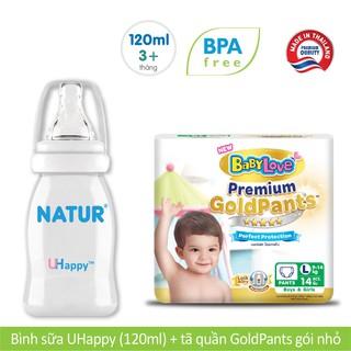 Combo Bình sữa Natur Uhappy 120ml Tã quần BabyLove Gold Pants S19 M17 L14 XL12 XXL10
