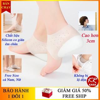 02 Miếng Lót Giày Tăng Chiều Cao Loại có đệm khí | Vớ silicon đệm gót chân tăng chiều cao 3cm