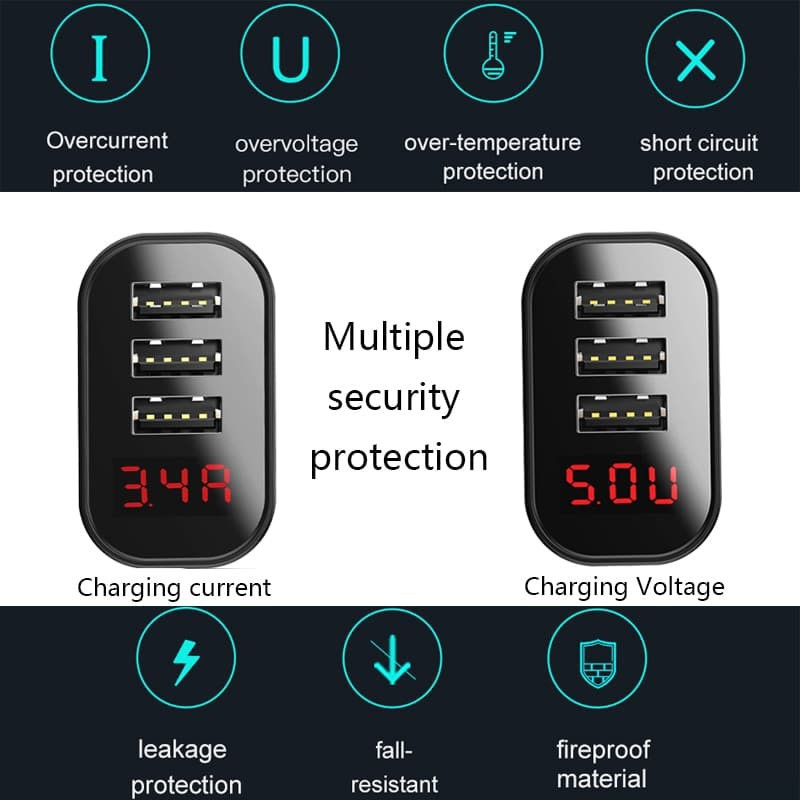 Củ Sạc Đa Năng 3 Cổng USBĐÈN LED HIỂN THỊCốc Sạc Baseus Mirror Lake LCD Thông Minh - Bảo Hành 12T
