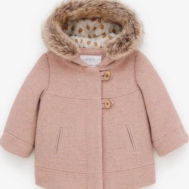 Áo dạ hồng zara mũ lông
