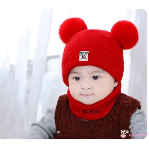 Set đồ giữ ấm thời trang cho bé gôm mũ len đeo đầu và khăn choàng cổ đáng yêu
