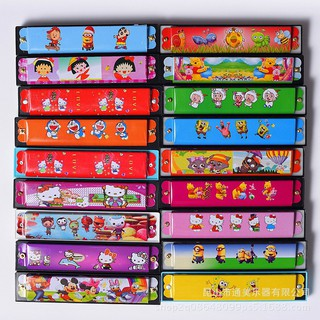 Musical Instrument Educational Kids Cute Cartoon Wood 16 Hole Harmonica Toy Gift