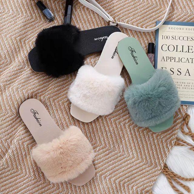 2N01 Dép lông - đế đồng màu cao su giầy thể thao nữ sneaker bánh bèo in logo Fashion hợp thời trang mùa đông