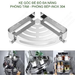 Kệ góc inox 304 để đồ thông minh đa năng nhà tắm, nhà bếp loại gắn tường bằng keo hoặc vít