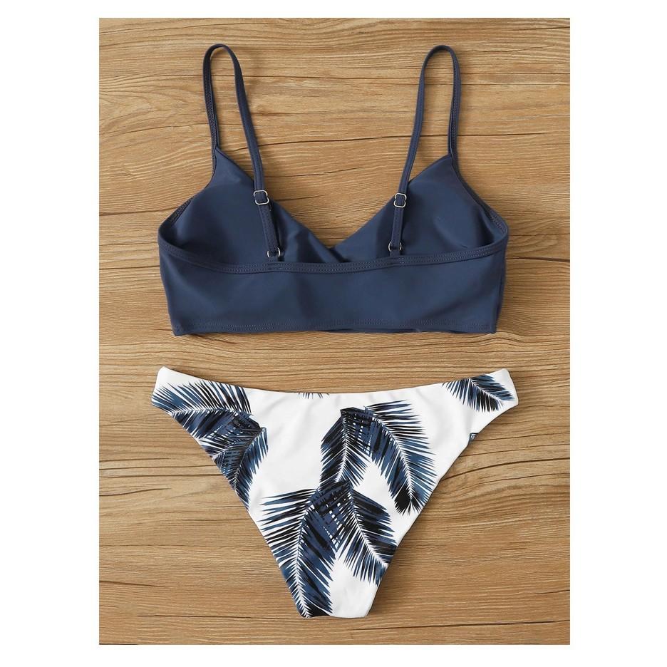 Bikini 2 Mảnh Đi Biển Áo Hai Dây Thun Co Giãn Quần Cạp Cao Ôm Body Chất Đẹp Mẫu Châu Âu