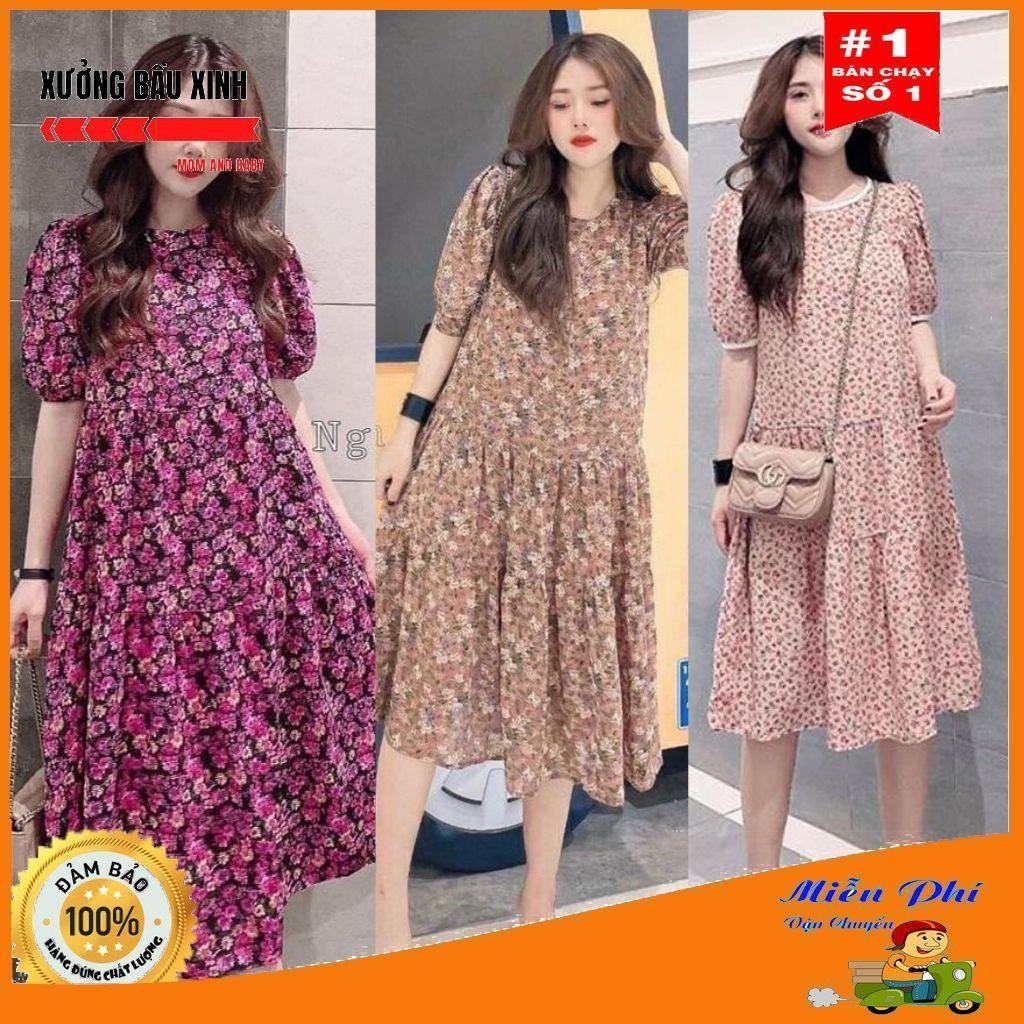 Váy bầu thời trang thiết kế hoa nhí chất Lụa Hoa freesize từ 45 đến 70kg