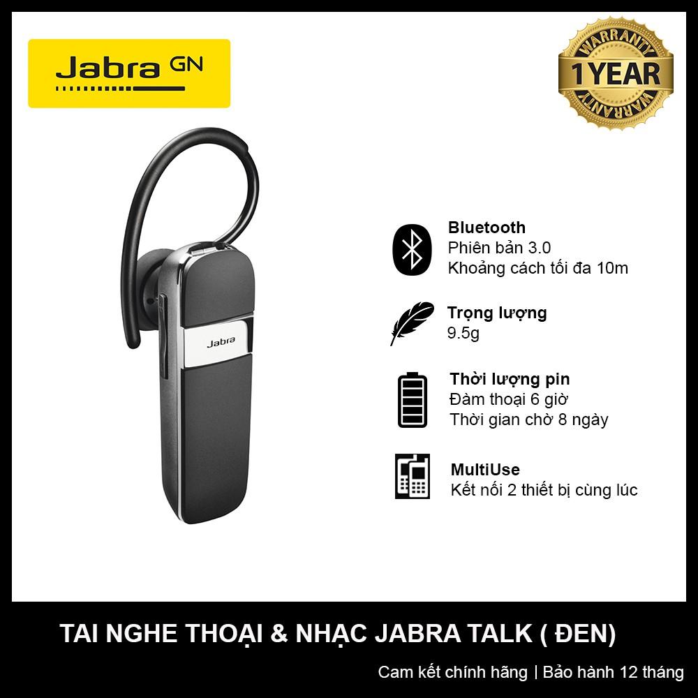 [CHÍNH HÃNG, NGUYÊN SEAL] Tai nghe không dây thoại & nhạc Jabra Talk (Đen)