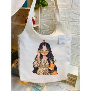 Túi Tote Vải Canvas Girl Ôm Gấu, Fullbox, Vải Dày, Có Lớp Lót Trong, Vải Dày, Có Khóa KéoMiladen. thumbnail