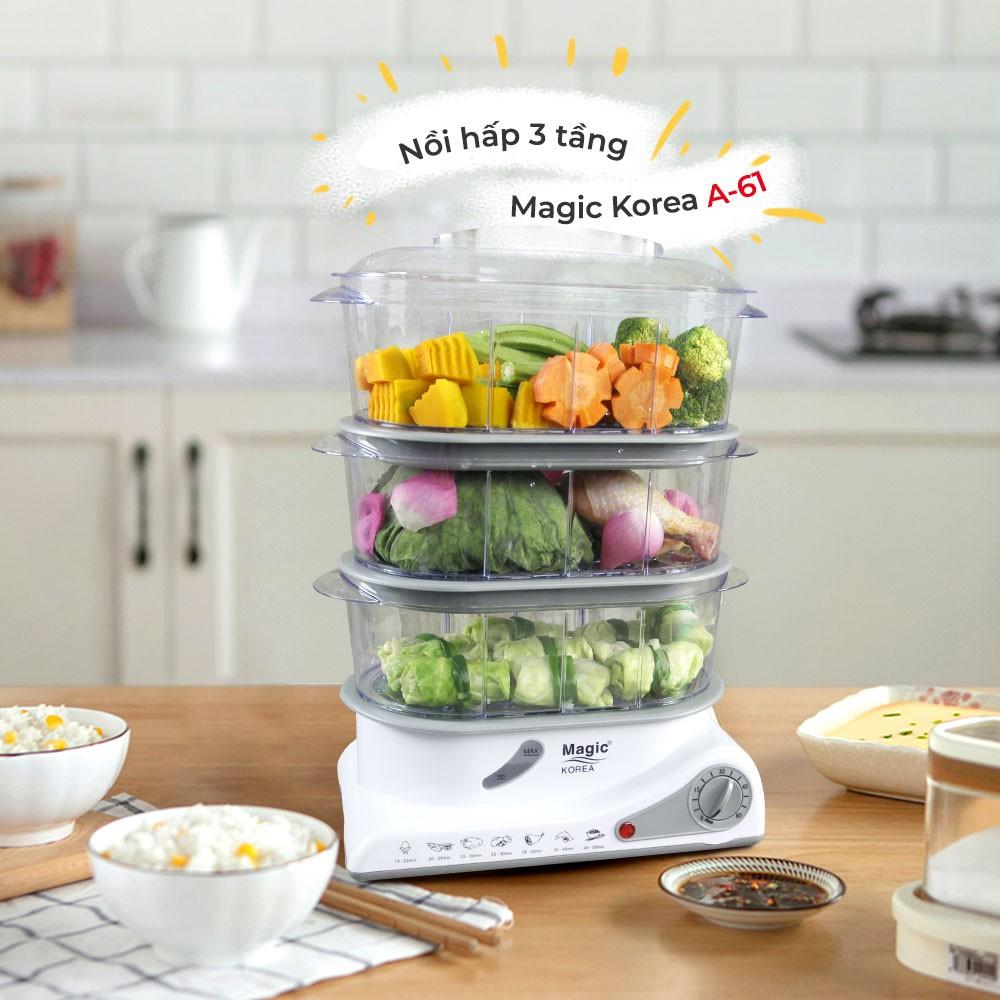 [Mã 267ELSALE hoàn 7% đơn 300K] Máy hấp thực phẩm đa năng 03 tầng Magic Korea A61 (10.5 lít)