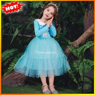 Váy Elsa Cotton Thu Đông Cho bé. Váy Đầm Elsa Công Chúa Mẫu Mới Nhất