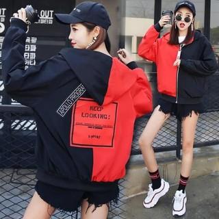 Áo thun,áo khoác dù hàng mới về Áo khoác dù nữ 2 lớp phối nửa đỏ đen hàng hot hè này !