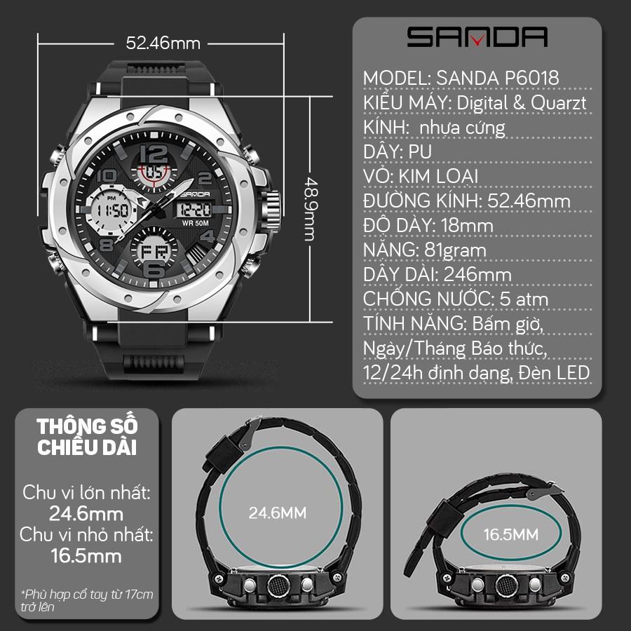 Đồng hồ Nam Sanda 6008 Chạy 2 máy - Tặng hộp +Pin