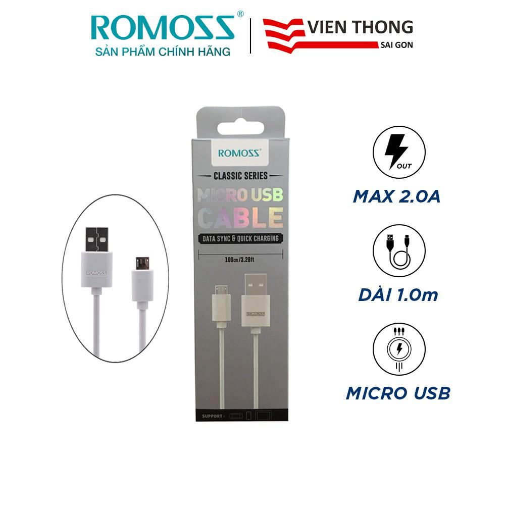 Cáp sạc nhanh micro USB Romoss CB05 thường bản tròn dài 1m - Hãng phân phối chính thức