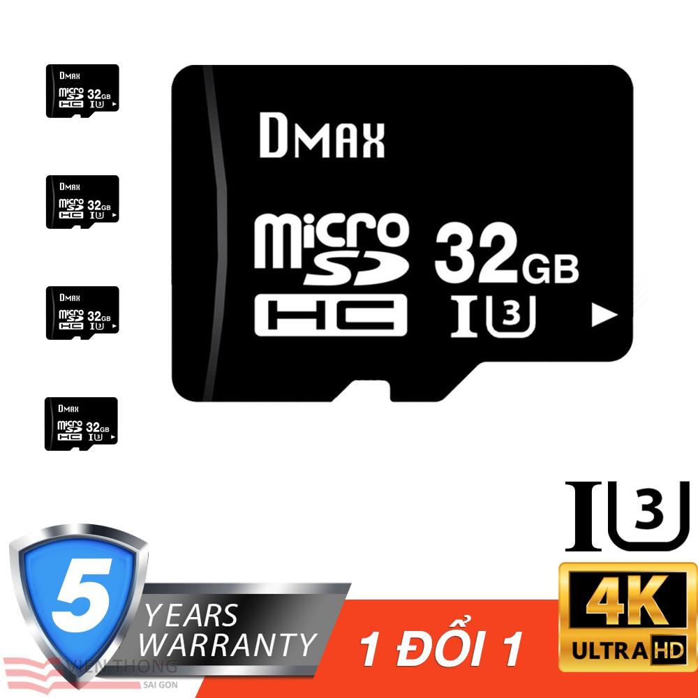 Bộ 5 Thẻ nhớ 32Gb tốc độ cao U3, up to 90MB/s Dmax Micro SDHC - Bảo hành 5 năm đổi mới - 2708966 , 1084350237 , 322_1084350237 , 1345000 , Bo-5-The-nho-32Gb-toc-do-cao-U3-up-to-90MB-s-Dmax-Micro-SDHC-Bao-hanh-5-nam-doi-moi-322_1084350237 , shopee.vn , Bộ 5 Thẻ nhớ 32Gb tốc độ cao U3, up to 90MB/s Dmax Micro SDHC - Bảo hành 5 năm đổi mới
