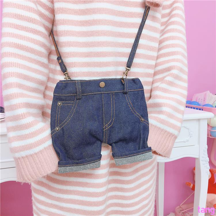 Korea ulzzang Harajuku soft sister denim pants personality handmade neck purse m