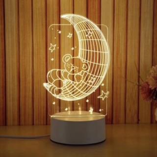 Đèn led 3D mẫu Gấu ôm trăng 3-7-16 màu