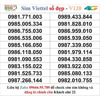 Sim Viettel V120 đầu 09 số đẹp giá rẻ 22