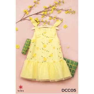 Đầm hoa mai đính nơ vai-DCC05
