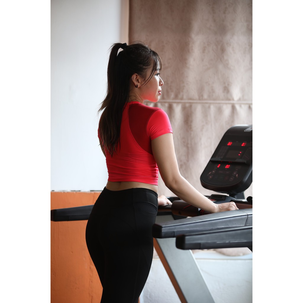 Mặc gì đẹp: Năng động với Áo tập  Yoga, Zumba, Gym, Aerobic, Đồ Tập Thể Thao Áo Croptop phối lưới CR601