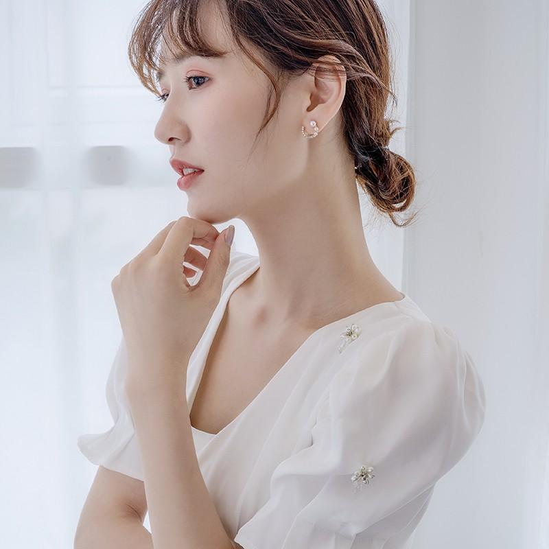 Bông Tai Nữ Đính Ngọc Trai Đơn Giản Phong Cách Hàn Quốc 2021