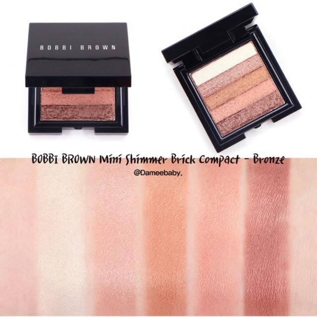 Phấn highlight Bobbi Brown Mini Shimmer Brick màu Bronze unbox