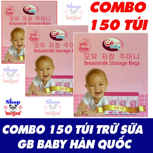 Free ship+ tặng 5 túi zip) combo 150 túi trữ sữa GB baby hàn quốc