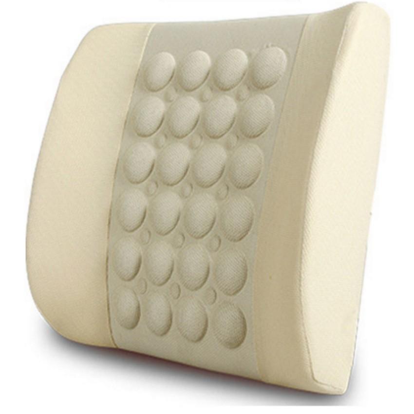 Đệm dựa lưng massage điện cho ô tô HQ206072-2 (Kem)