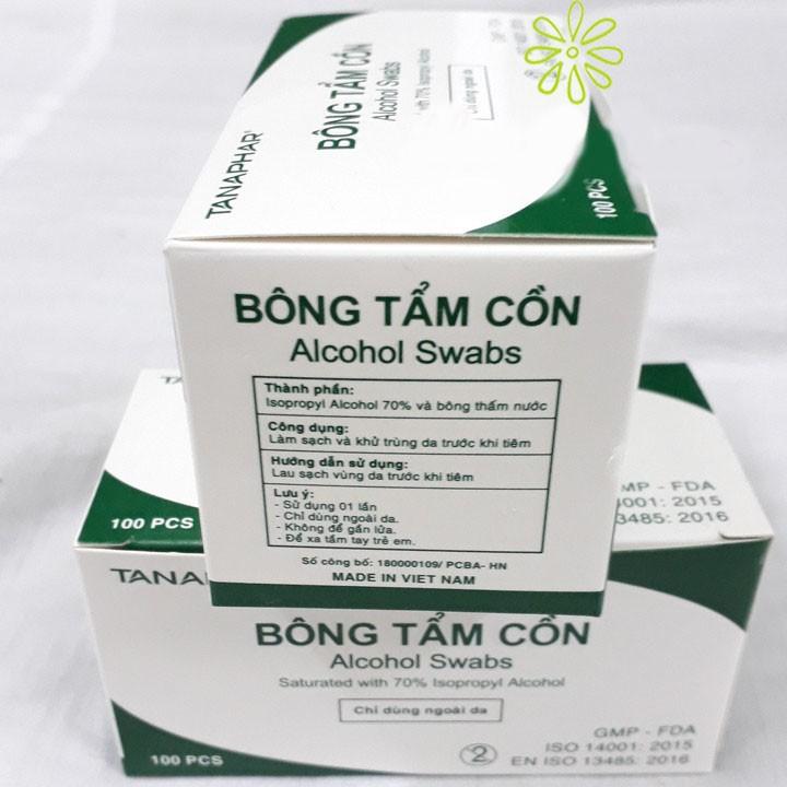 Hộp 100 bông tẩm cồn ALCOHOL SWABS sát khuẩn, sát trùng